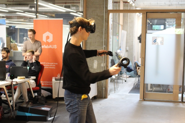 Teams giving VR game development a crack thanks to Leon's HTC Vive. Photo thanks to Steven Cooper