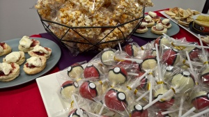 Pokemon cake pops, popcorn and scones... YUMMY